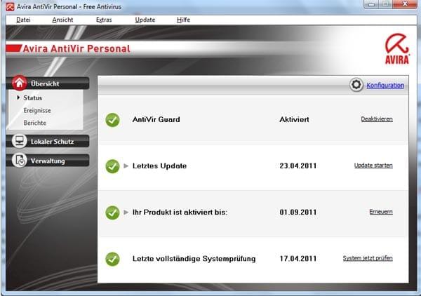 Anleitung: Updates und Systemprüfungen bei Avira AntiVir Personal einrichten