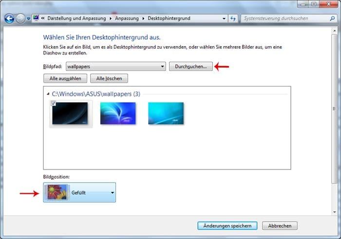 Desktophintergrund bei Windows 7 einstellen