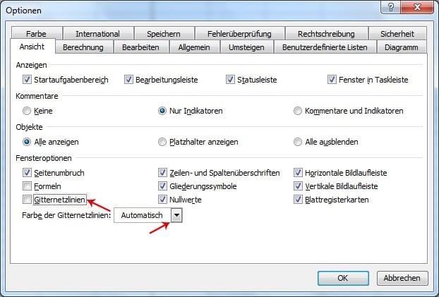 Gitternetzlinien in Excel ausblenden