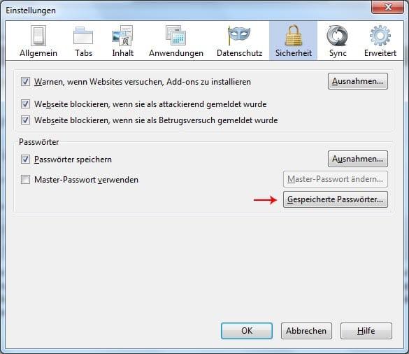 Passwörter in Firefox speichern