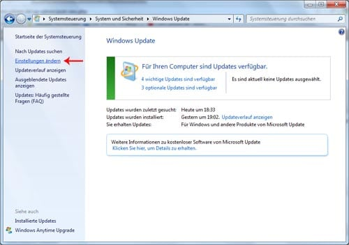 Windows Updates unter Windows 7 verwalten