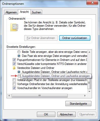 Versteckte Dateien und Ordner unter Windows 7 anzeigen lassen