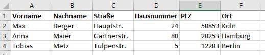 Abbildung 1: Beispiel-Adressliste in Excel