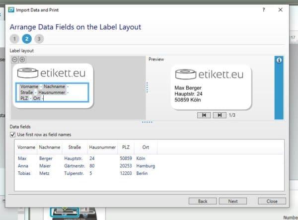 Abbildung 7: Gesetzte Platzhalter und Vorschau auf Label mit Adresse